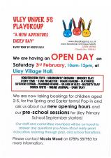 Uley Under 5's Playgroup: OPEN DAY